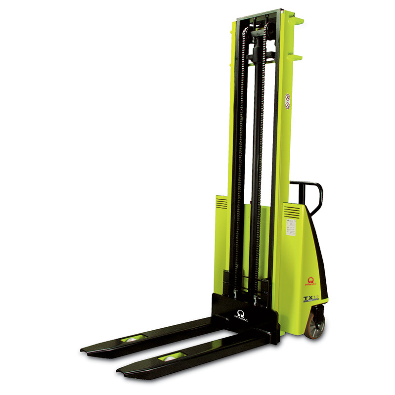 An example of a portable high lift pallet truck.